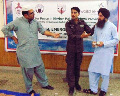 World Relief conducts a peace-building training session in Peshawar May 19. The organisation teaches community members how to avoid conflicts and promote inter-faith harmony. [Muhammad Shakil]