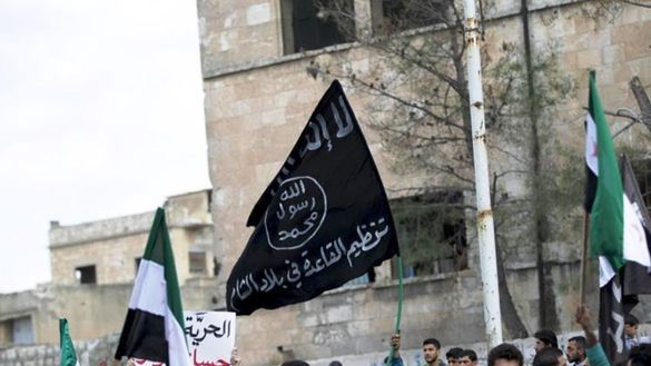 Al-Qaeda's flag is displayed in Syria, before splinter group al-Nusra Front established a presence in that country. [Photo courtesy of Mohammed al-Abdullah]