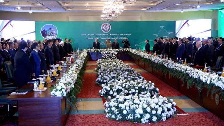 Leaders of the Economic Co-operation Organisation countries vowed to defeat militancy and promote economic co-operation and stability in South and Central Asia at a summit in Islamabad on March 1. [Twitter account of Nihat Zeybekci‏]