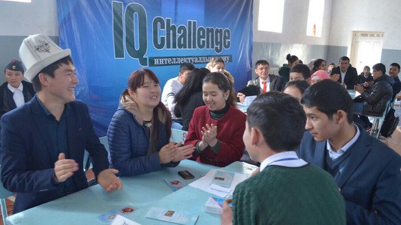 "About 130 youths aged 14 to 20 compete in the ""IQ Challenge"" game April 8 in Suzak District, Jalal-Abad Province. [Search for Common Ground]"