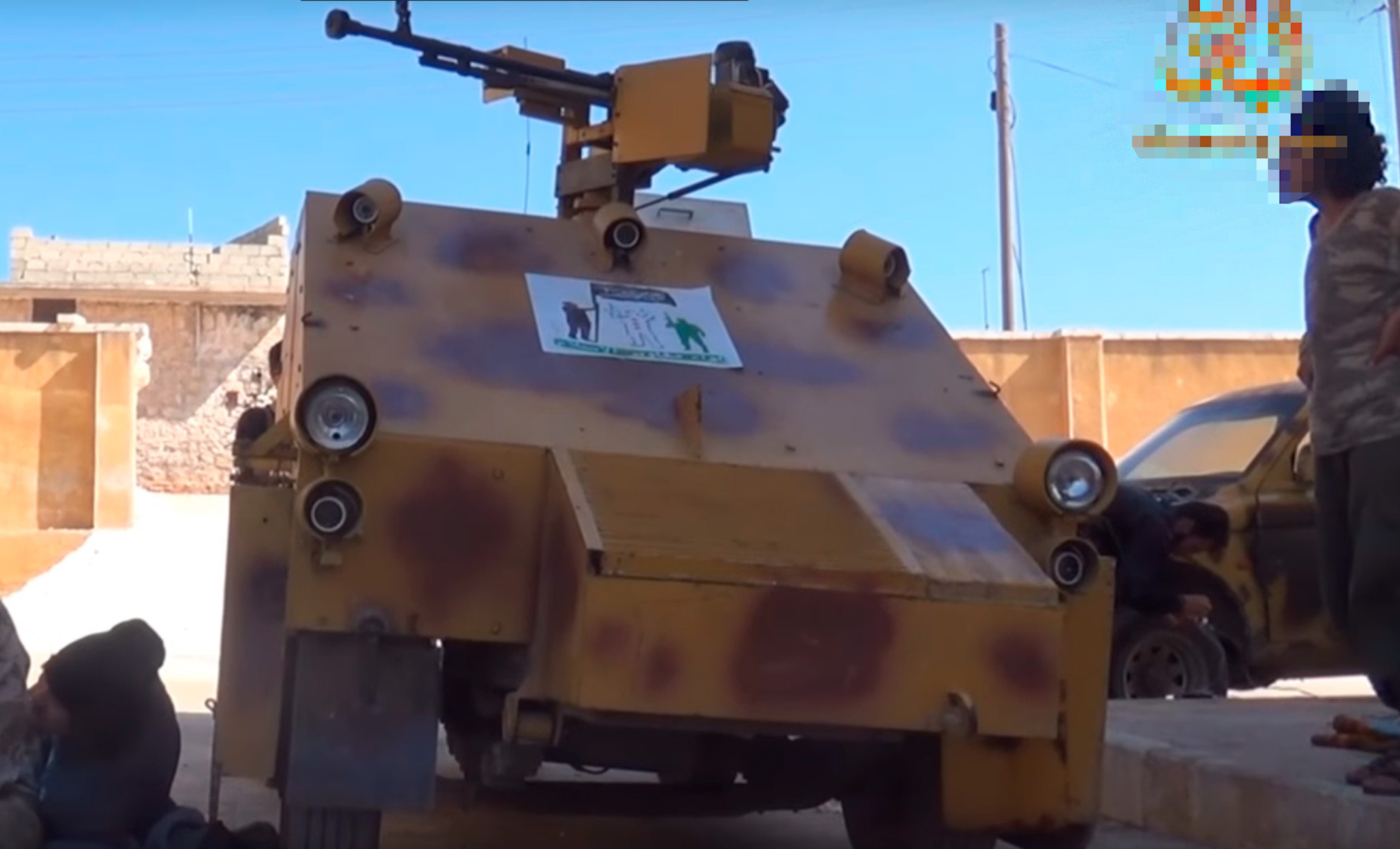 A YouTube screenshot shows an Imam Bukhari Jamaat (IBJ) armoured car in Idlib Province, Syria. The video was uploaded April 12.