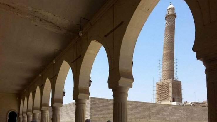 The leaning minaret of Mosul's al-Nuri mosque is seen from the interior of the mosque in this file photo. Both were destroyed by the 'Islamic State' on June 21st. [Photo courtesy of Iraqi Military Encyclopedia]