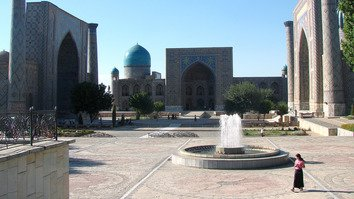Registan Square in Samarkand is shown in the summer of 2016. The Uzbekistani government is hoping to double the number of tourists to the ancient city.  [Maksim Yeniseyev]