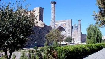 Registan Square in Samarkand is shown in the summer of 2016. Samarkand is home to dozens of architectural monuments, mostly built between the 15th and 17th centuries. [Maksim Yeniseyev]