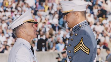 "Daniyar Uteulin receives his diploma at the United States Military Academy at West Point in May 2004. The ""American system of military education is very well thought out and precisely structured"", he says. [Uteulin's personal archive]"
