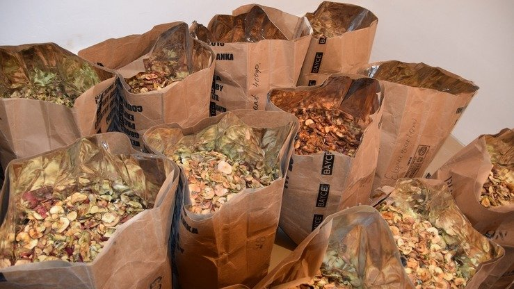 Processed fruit can be seen at a new facility in Uzgen in October. The new processing plants make dried fruit, juices, jams and other products. [USAID  Kyrgyz Republic]