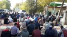 Muslims perform Friday prayer outdoors in Bishkek in October. The mosque could not accommodate all the worshippers. [Asker Sultanov]