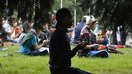 Kyrgyz Muslims pray in Bishkek last June 25 during celebrations of Eid ul Fitr. [Vyacheslav Oseledko/AFP]