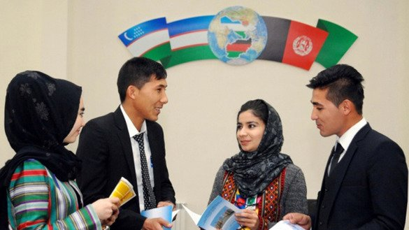Afghan students gather at a new educational centre in Termez January 21. [Uzbekistan National News Agency]