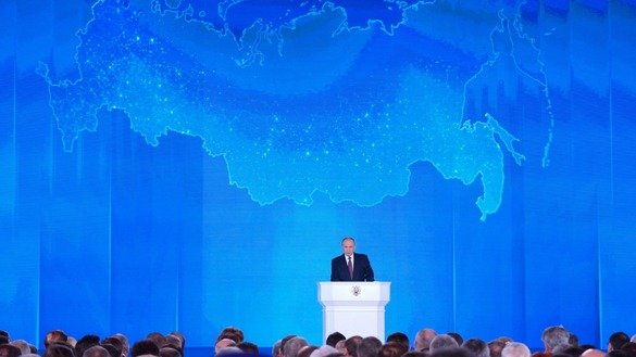 Russian President Vladimir Putin delivers his state of the nation address March 1 in Moscow. [Kremlin]
