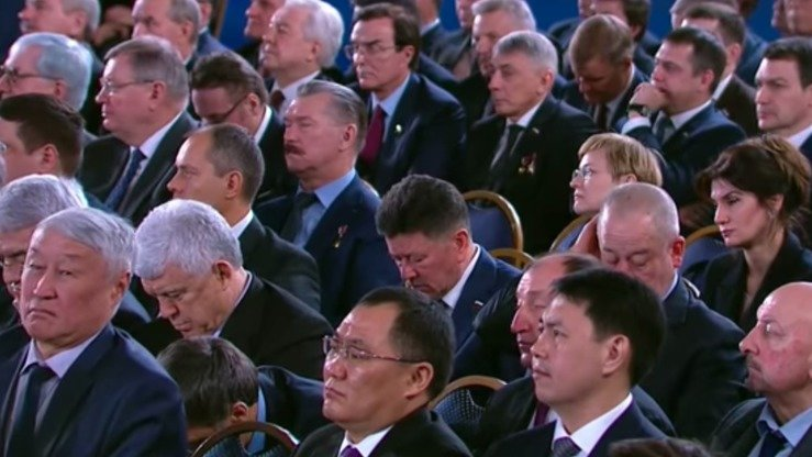 Throughout much of Putin's rambling, two-hour speech, audience members appeared distracted, some even nodding off. [Kremlin]