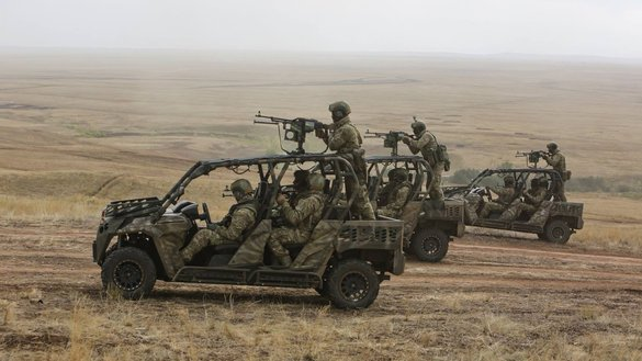 Russian special forces conduct a live-fire exercise near the Kazakhstani border last September. [Global Military Strategy & Statistics Facebook page]
