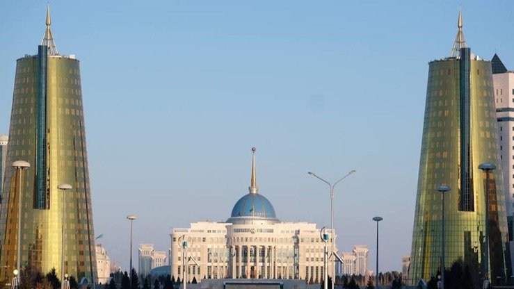 The Akorda Presidential Palace is shown in Astana in March. Kazakhstan, Russia's closest ally for years, is now charting its own geopolitical course, including forging closer ties with the United States, say analysts. [Vladimir Tretyakov]