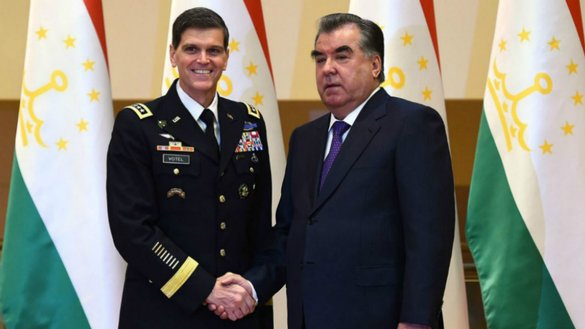 Gen. Joseph L. Votel, commander of US Central Command, shakes hands with Tajik President Emomali Rahmon (right) May 11 in Dushanbe. [File]