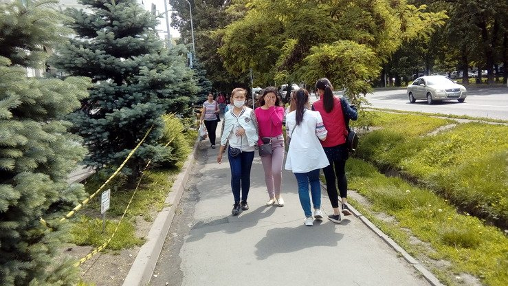 Youth stroll through downtown Almaty May 23. The Kazakh government plans to create 18,000 jobs for youth this summer. [Ksenia Bondal]