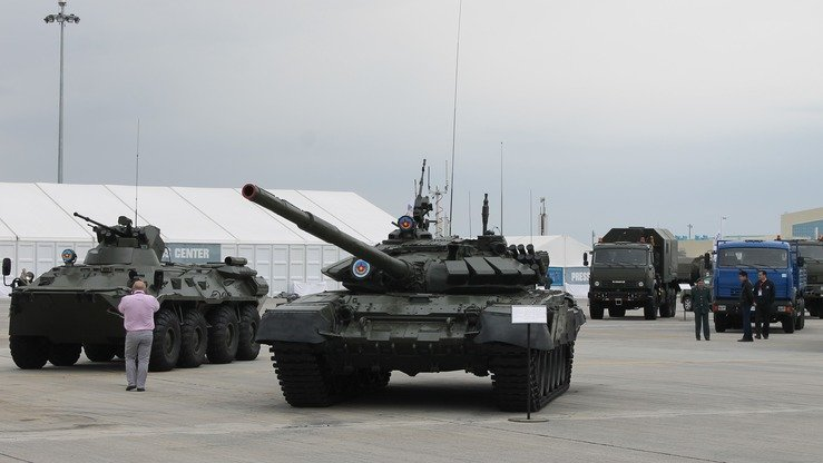 Tanks on active duty in Kazakhstan can be seen at KADEX-2018 in Astana May 24. [Aydar Ashimov]