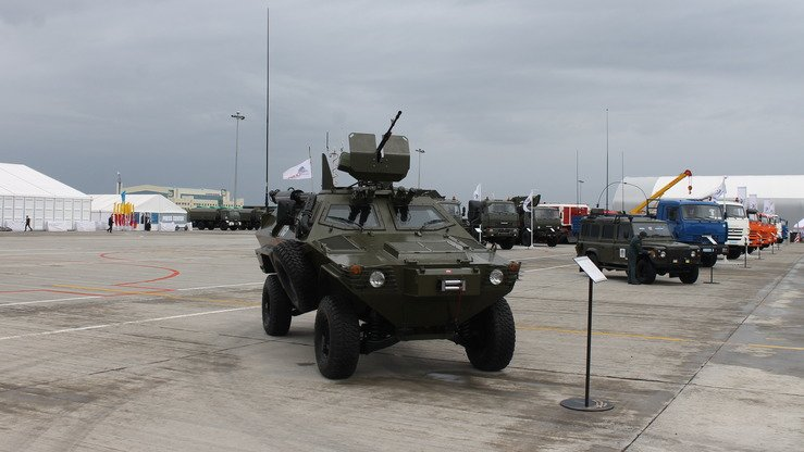 The Cobra combat vehicle, seen here at KADEX-2018 in Astana on May 24, is designed for patrols, escorts and destruction of lightly armoured targets, according to the Kazakh Ministry of Defence. The Turkish-designed vehicle is built in Kazakhstan. [Aydar Ashimov]