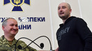 Russian anti-Kremlin journalist Arkady Babchenko (right) and Security Service of Ukraine (SBU) chief Vasyl Grytsak (left) speak during a press conference at the SBU in Kyiv on May 30. Ukraine admitted it had staged the murder of Babchenko in order to foil an attempt on his life by Russia. [Sergei Supinsky/AFP]