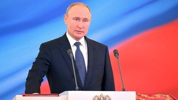 Russian President Vladimir Putin speaks at the Kremlin on May 7. [Kremlin]