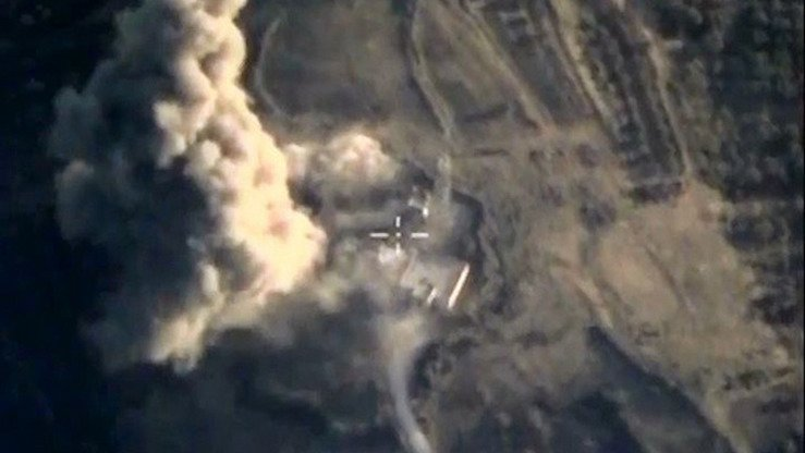 Russia's air force hits a purported IS facility in Syria in October 2015. Since Russia intervened in the conflict in 2015, only 14% of its air strikes have hit IS targets, according to IHS Jane's Terrorism and Insurgency Centre. [Russian Ministry of Defence]