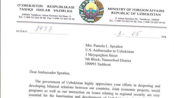 This screenshot shows part of the fake letter ostensibly sent May 3 by Uzbek Deputy Foreign Minister Abdujabar Abduvakhitov to US Ambassador to Uzbekistan Pamela Spratlen.