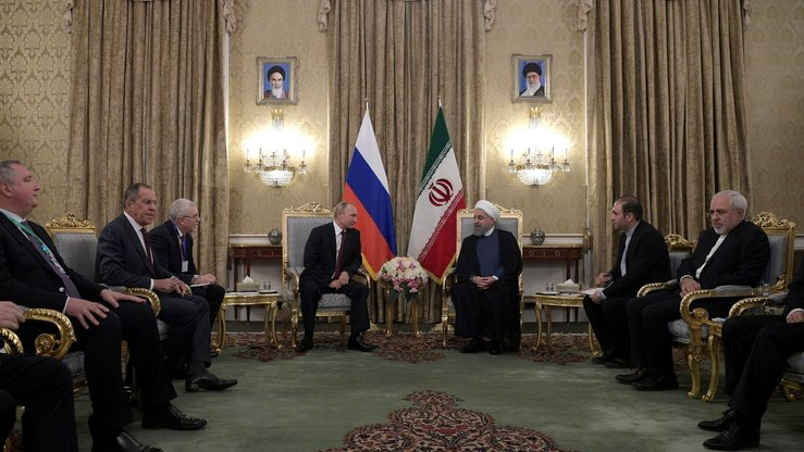 Russian President Vladimir Putin and Iranian President Hassan Rouhani met in Tehran with their retinues in November 2017 to discuss further co-operation between their two nations on issues including Syria, Yemen, and Afghanistan. [Kremlin]
