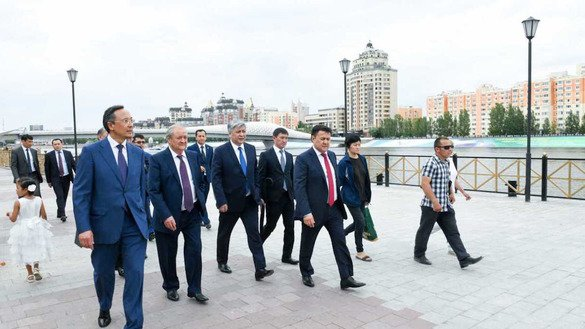 The foreign ministers of Central Asian countries walk together in Astana on July 6. [Kazakhstani Foreign Ministry]