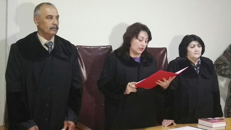 Judge Firuza Akhmadzoda announces the verdict at the trial of nine members of the Nasriddinov family in Khujand April 18. [Masum Mukhammadrajab]