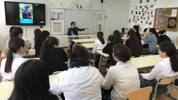 Pupils attend a lesson at the Bilim Innovation Lyceum for gifted girls in Astana in March. It is one of the schools that will transition to teaching Kazakh in the Latin alphabet starting in September. [Bilim-Innovatsiya website]