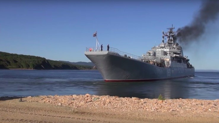 A video screenshot shows a Russian warship preparing to participate in massive military drills that started on September 11, 2018. [Russian Ministry of Defence]