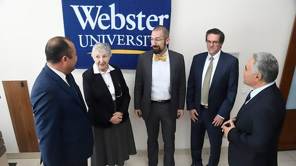 Webster University teachers meet with their Uzbek colleagues at Uzbek State World Languages University in Tashkent September 5. [Uzbek Ministry of Higher and Secondary Specialised Education]