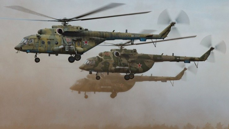 Russian helicopters take part in their country's largest ever military drills September 13. [Russian Ministry of Defence]