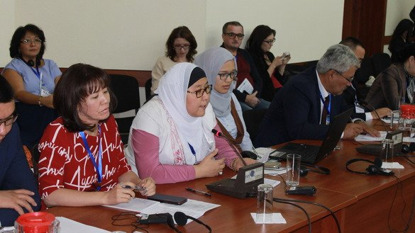 "Participants speak September 14 at the international symposium on ""Countering Extremism Online"" in Bishkek. [Aydar Ashimov]"