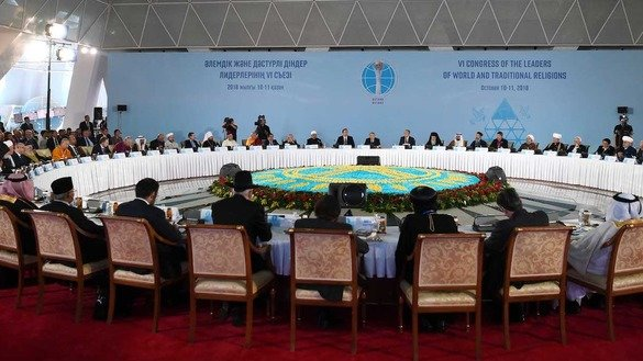 More than 80 delegations from 46 states participate in the 6th Congress of Leaders of World and Traditional Religions in Astana October 10-11. [Kazakh presidential press office]