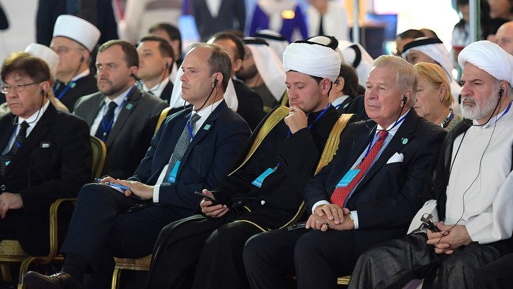 Participants attend a religious leaders' conference in Astana October 10-11, where they discussed security issues, religion and globalisation, as well as the need to defeat extremism and terrorism. [Kazakh presidential press office]