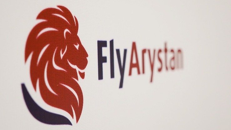 The logo of new low-cost airline FlyArystan is shown at a presentation at the Air Astana press office on November 7. [Air Astana]