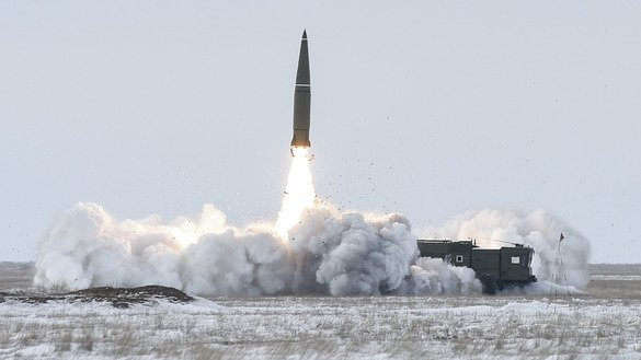 Russian forces in Astrakhan Province perform an exercise using the Iskander-M missile system last March. The 9M729 missile, which violates the Intermediate-Range Nuclear Forces (INF) Treaty, is thought to be launched from a system similar to the Iskander. [Russian Defence Ministry]