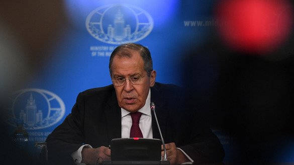 Russian Foreign Minister Sergey Lavrov gives his annual press conference in Moscow January 16. Russia is willing to work toward salvaging the INF treaty, said Lavrov. [Kirill Kudryavtsev/AFP]