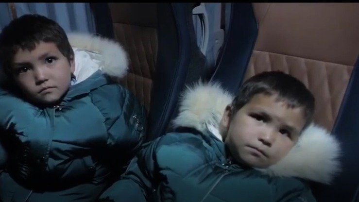 Children rescued from Syria in a Kazakh operation January 5-6 are seen in this screenshot from a video published by the Kazakh National Security Committee (KNB).