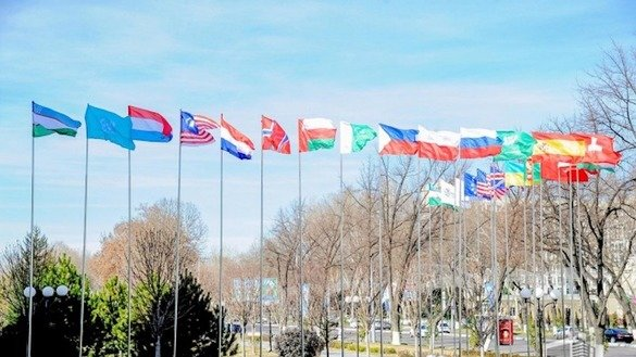 Flags of the region fly in Tashkent during a February 19 conference on co-operation among Central Asian states. [Uzbekistan National News Agency]