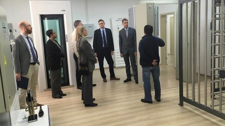 Specialists from the Kazakh Institute of Nuclear Physics and representatives of the US National Nuclear Security Administration participate in a working meeting in Almaty last November 12. [Kazakh Institute of Nuclear Physics]