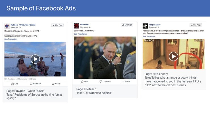 A Facebook announcement of last April 3 shows sample Facebook advertisements from pages and accounts controlled by the Russia-based Internet Research Agency (IRA). Facebook said on March 26 it removed another 2,600 pages, groups and accounts, with the majority linked to Russia. [Facebook]