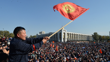 Violence breaks out in Kyrgyzstan as elections cancelled on vote-buying allegations